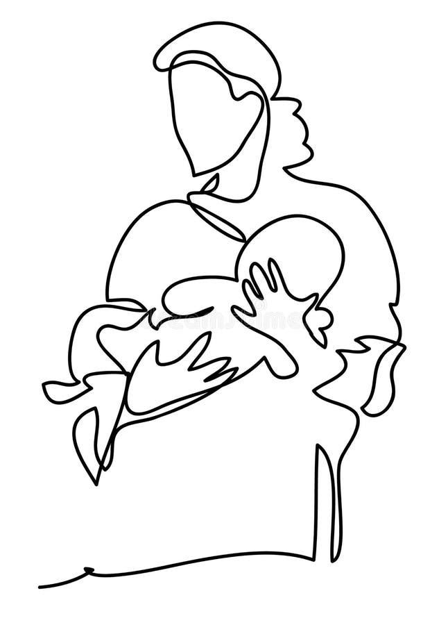 Une mère avec un bébé Concept de famille, de maternité et de mode de vie Dessin au trait continu D'isolement sur le blanc illustration de vecteur