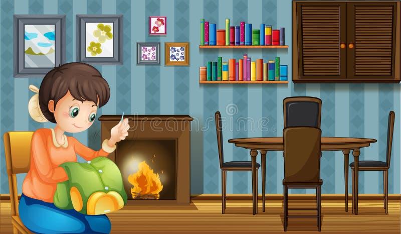 Une mère cousant près de la cheminée illustration de vecteur