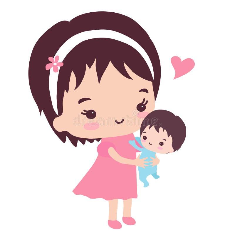 Une mère heureuse avec un petit fils illustration stock