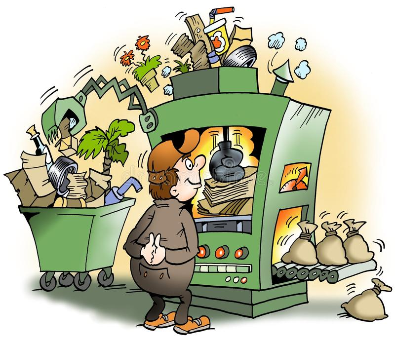 une machine qui produit des d chets pour l 39 argent illustration stock image 58401010. Black Bedroom Furniture Sets. Home Design Ideas