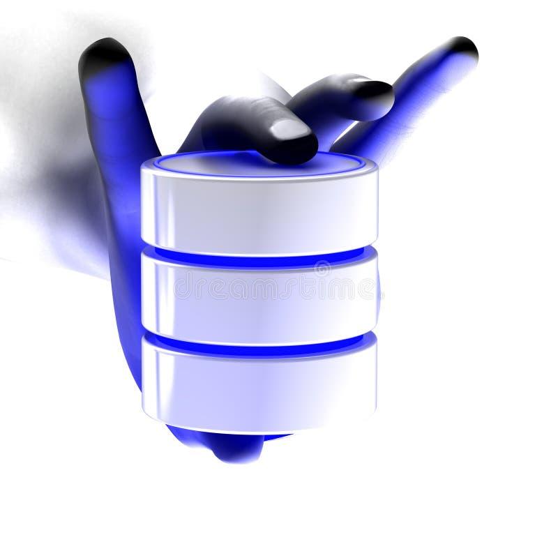 Une main à fond gris affichant une base de données illustration libre de droits