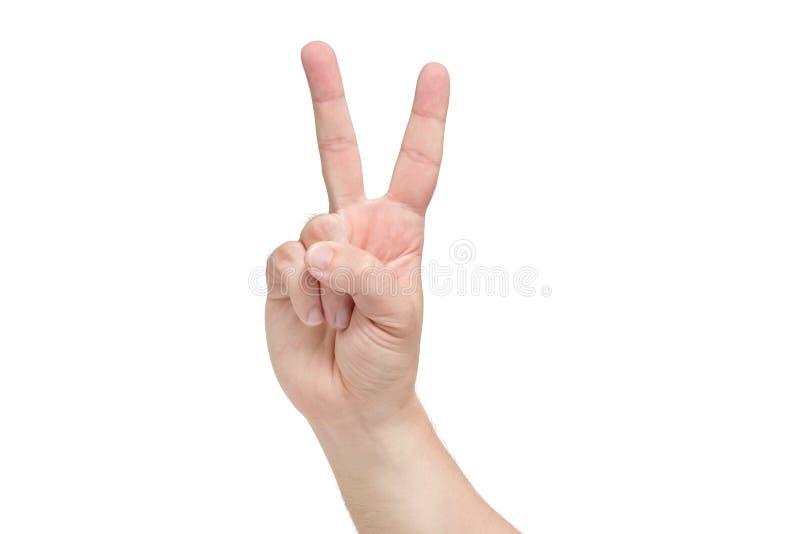Une main avec le geste de victoire Fond blanc d'isolement photographie stock libre de droits
