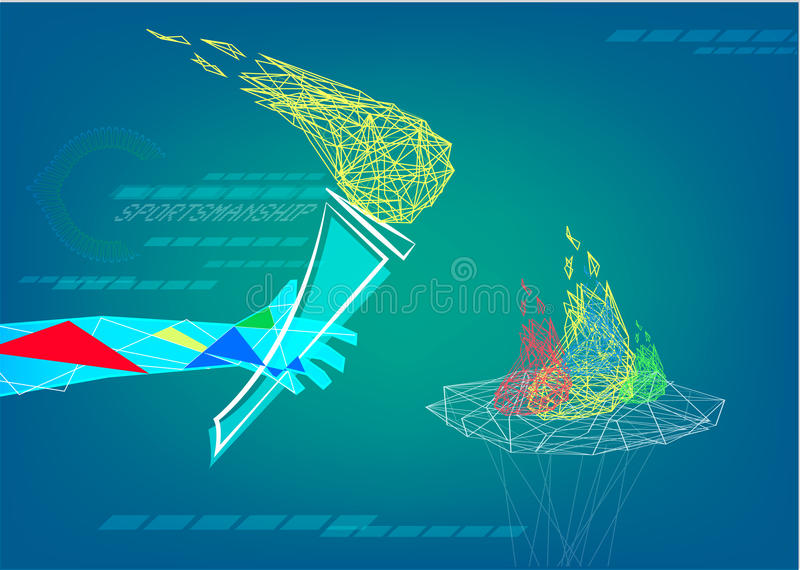 Une main tient la flamme de la sportivité dans le bas poly style abstrait Clipart (images graphiques) éditorial photo stock