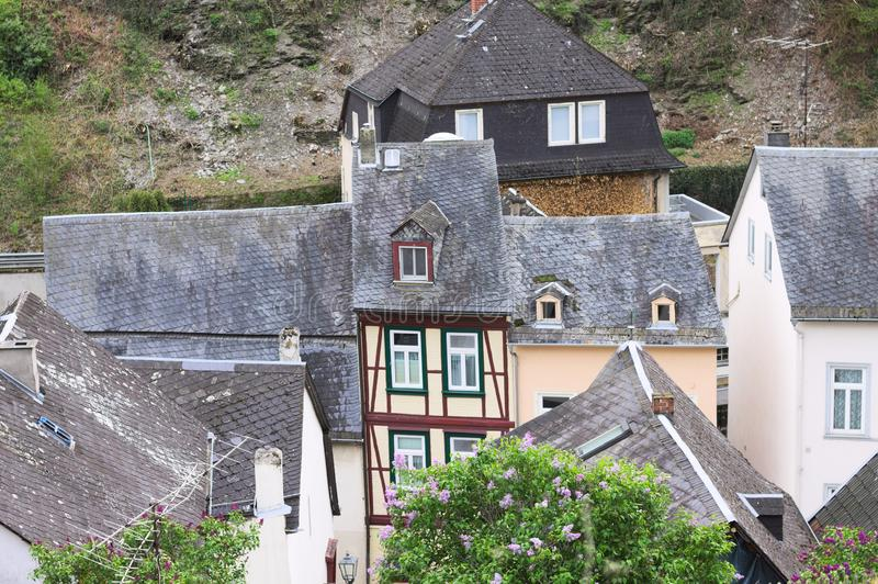 Une maison à colombage mince étrange Bacharach photographie stock