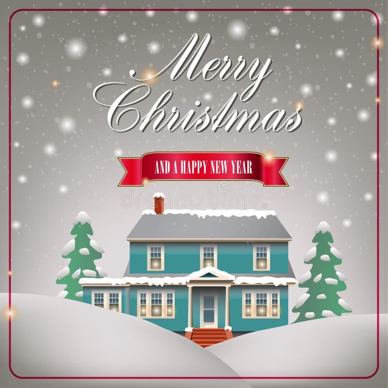 Une maison confortable de Noël illustration stock
