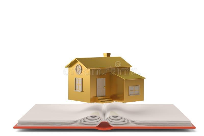 Download Une Maison D'or Sur Le Livre Illustration 3D Illustration Stock - Illustration du message, vide: 87705382