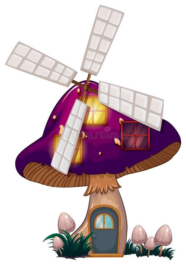 Une maison de champignon avec un moulin à vent illustration libre de droits
