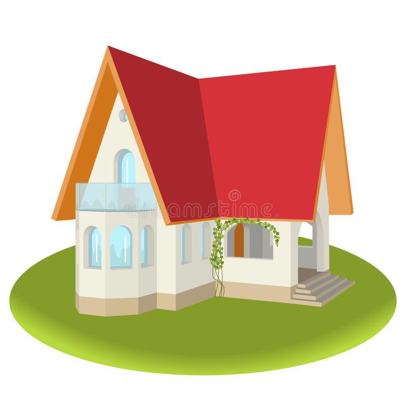 Une maison de couleur claire avec le balcon, le porche et une OIN de fenêtre en saillie illustration libre de droits