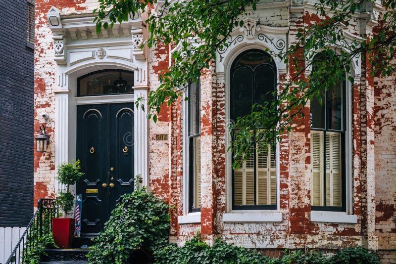 Une maison de rang?e de brique ? Georgetown, Washington, C.C photo libre de droits