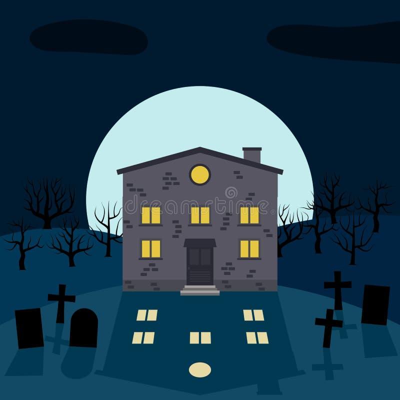 Une maison isolée la nuit devant la lune illustration stock