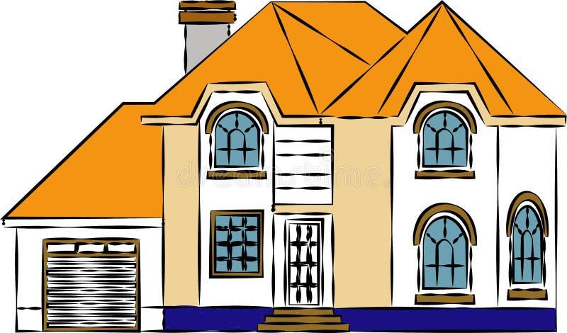 Une maison storeyed multiple de cottage avec le toit incurvé dépeignant la maison multi d'étage - vectorielles d'images illustration de vecteur