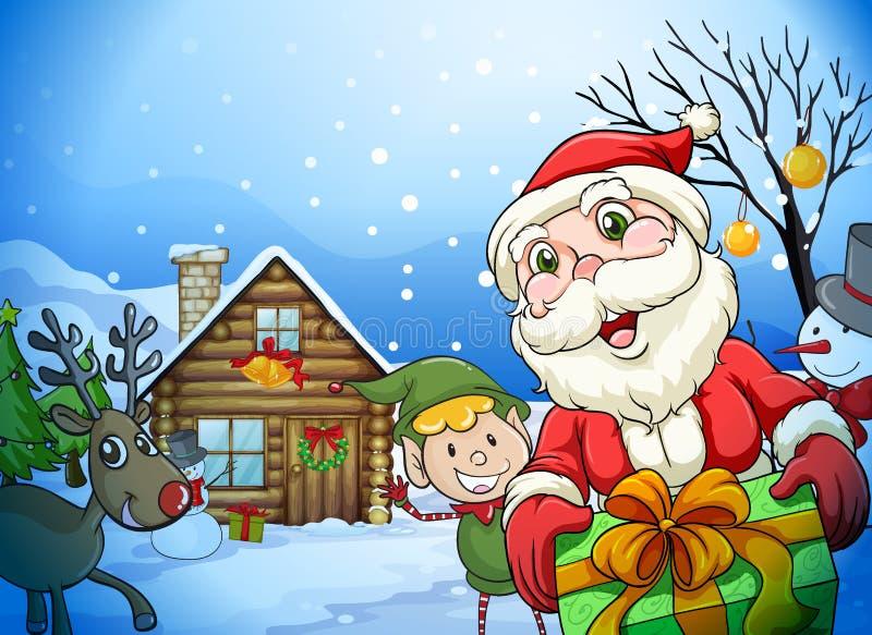 Une maison, un père noël et un renne illustration libre de droits