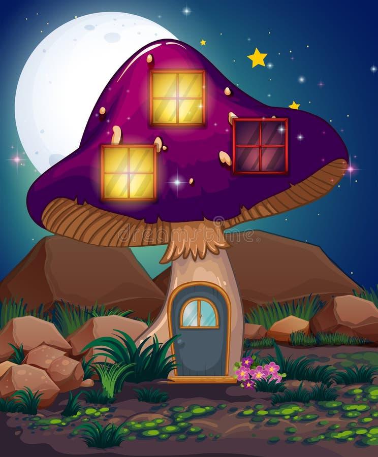 Une maison violette de champignon illustration de vecteur for Maison violette