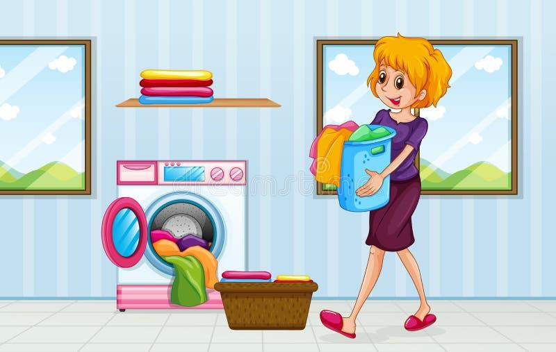 Une maman faisant la blanchisserie illustration stock