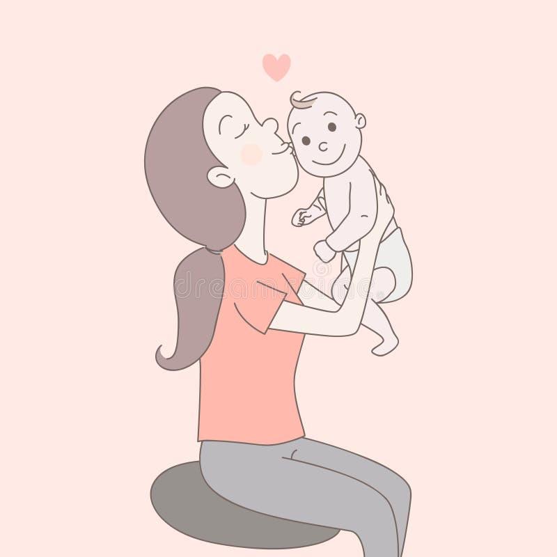 Une maman heureuse se tient, regarde le bébé nouveau-né infantile heureux et l'embrasse avec amour Condition parentale, bonheur d illustration stock