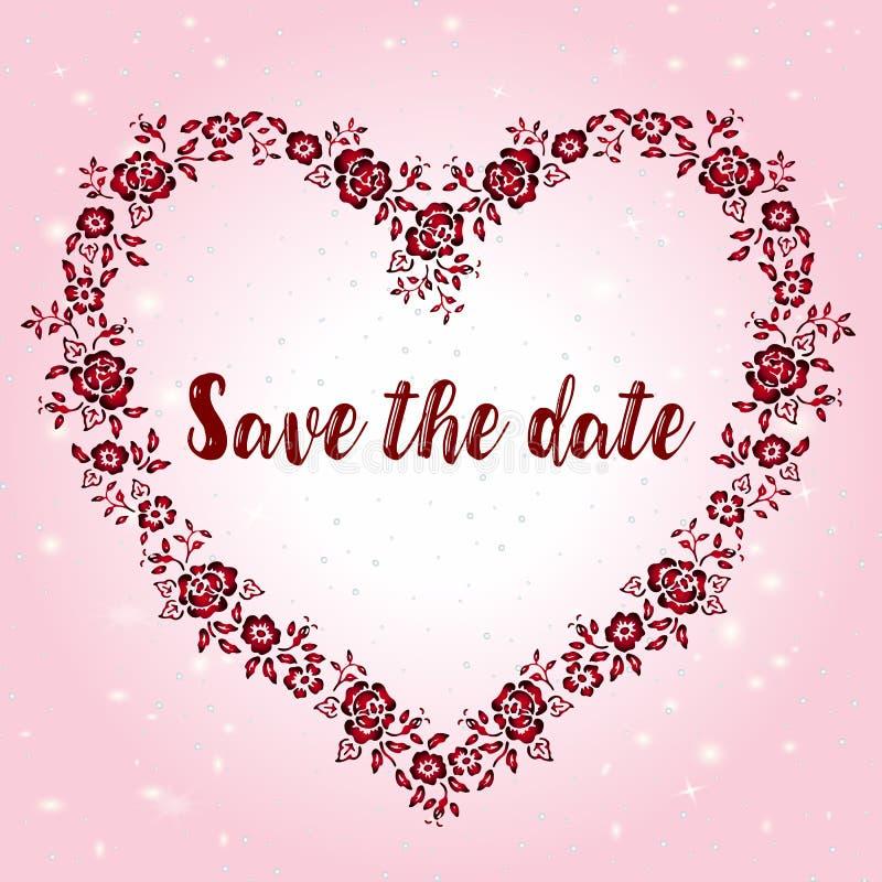 Une maquette d'une carte de voeux pour la Saint-Valentin ou un jour du mariage avec un cadre en forme de coeur illustration de vecteur