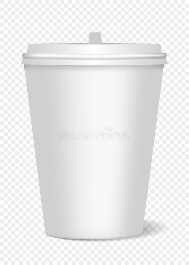 Une maquette d'une tasse de papier avec le couvercle et d'ombre réaliste pour le café, thé, boissons, l'eau Peut ?tre employ? com illustration stock