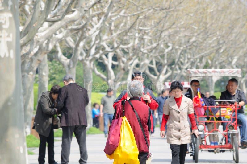 Une marche chinoise plus ancienne de femme image stock