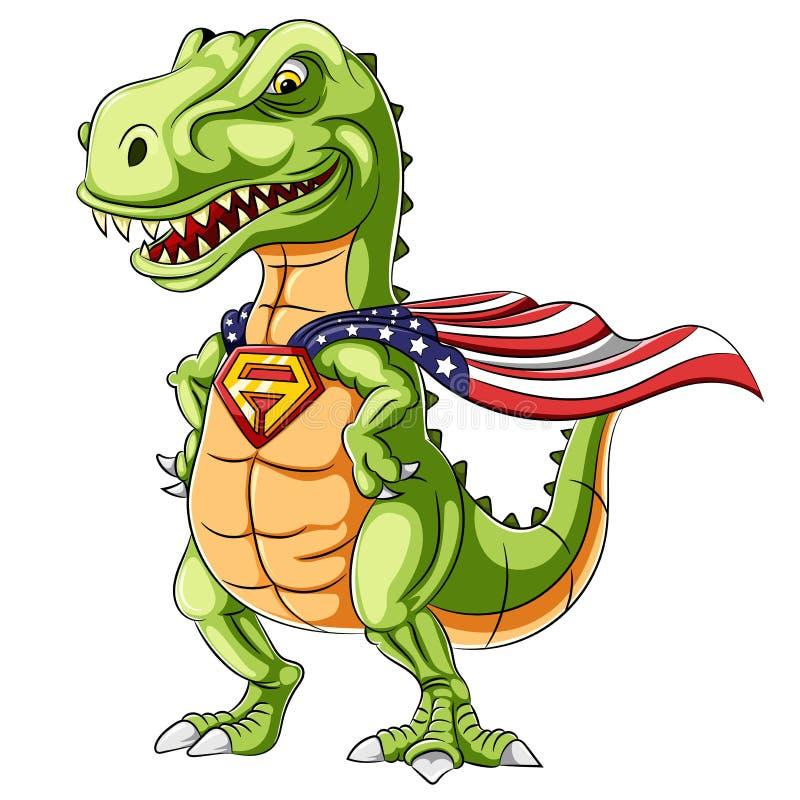 Une mascotte de dinosaures de super héros de bande dessinée illustration stock