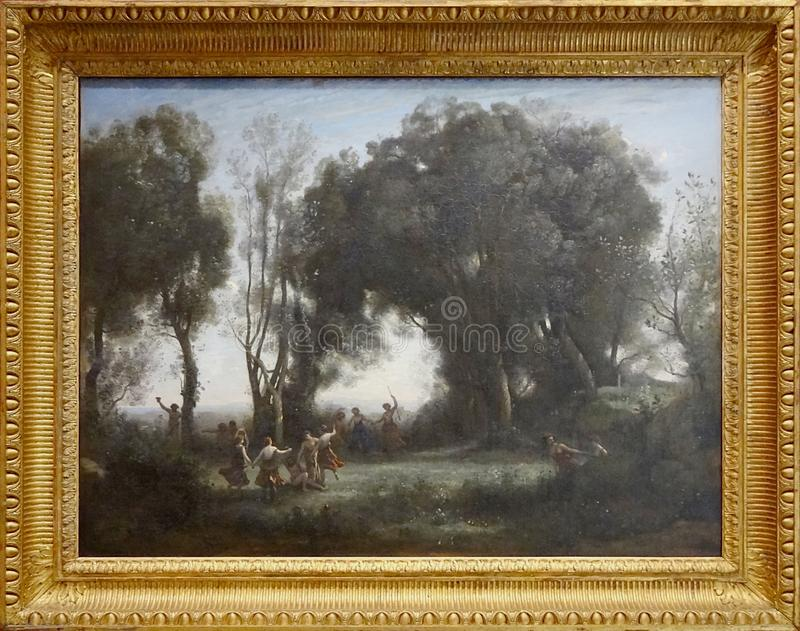 ' Une-matinée, La danse DES nymphes' , Camille Corot, vers 1850 stockbilder