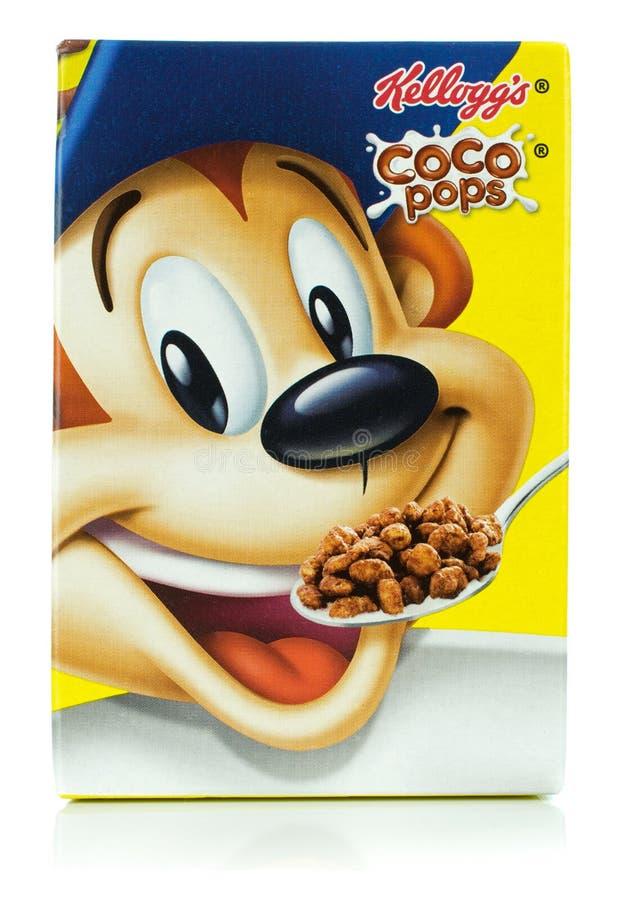 Une mini boîte des Cocos de Kellogg saute la céréale de petit déjeuner photographie stock libre de droits