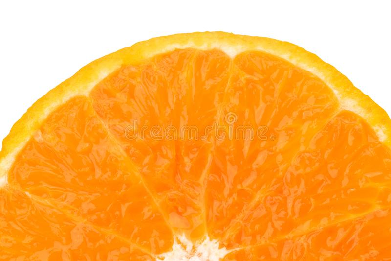 Une moitié de la tranche orange juteuse fraîche de fruit d'isolement sur le fond blanc pour le texte Antioxydant naturel de vitam images stock