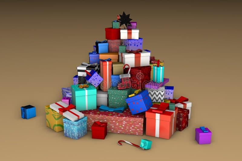 Une montagne des cadeaux de Noël sous forme d'arbre de Noël sur un fond beige 3D illustration de vecteur
