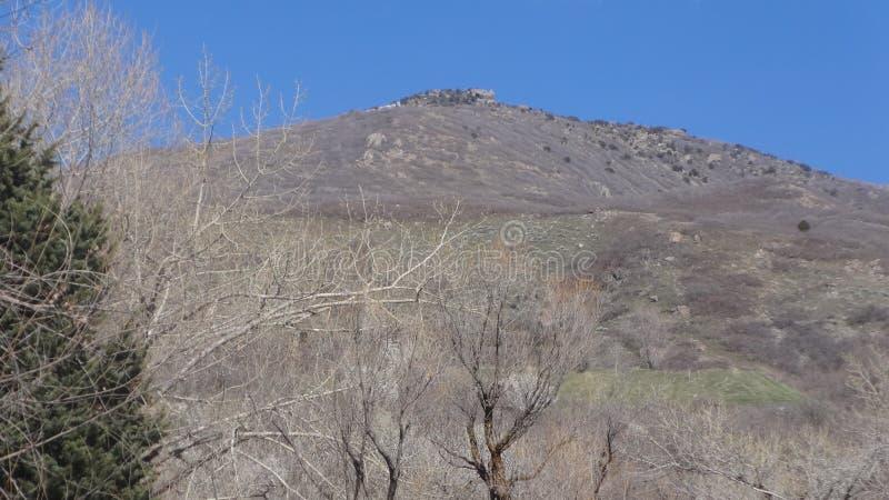 Une montagne regardant au-dessus de l'étang de canard sous lui image libre de droits