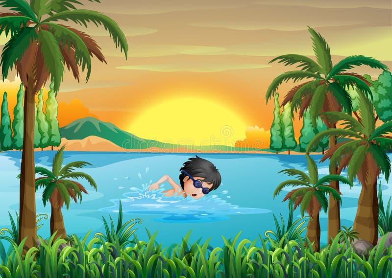 Une natation de garçon au lac illustration de vecteur