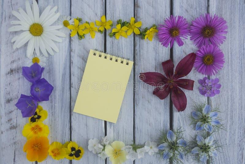 Une note sur une surface en bois encadrée par les fleurs 3 photographie stock