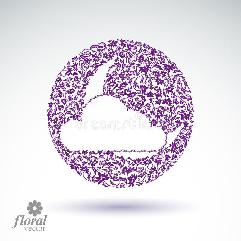Une nouvelle lune derrière une belle illustration d'art de vecteur de nuage illustration libre de droits