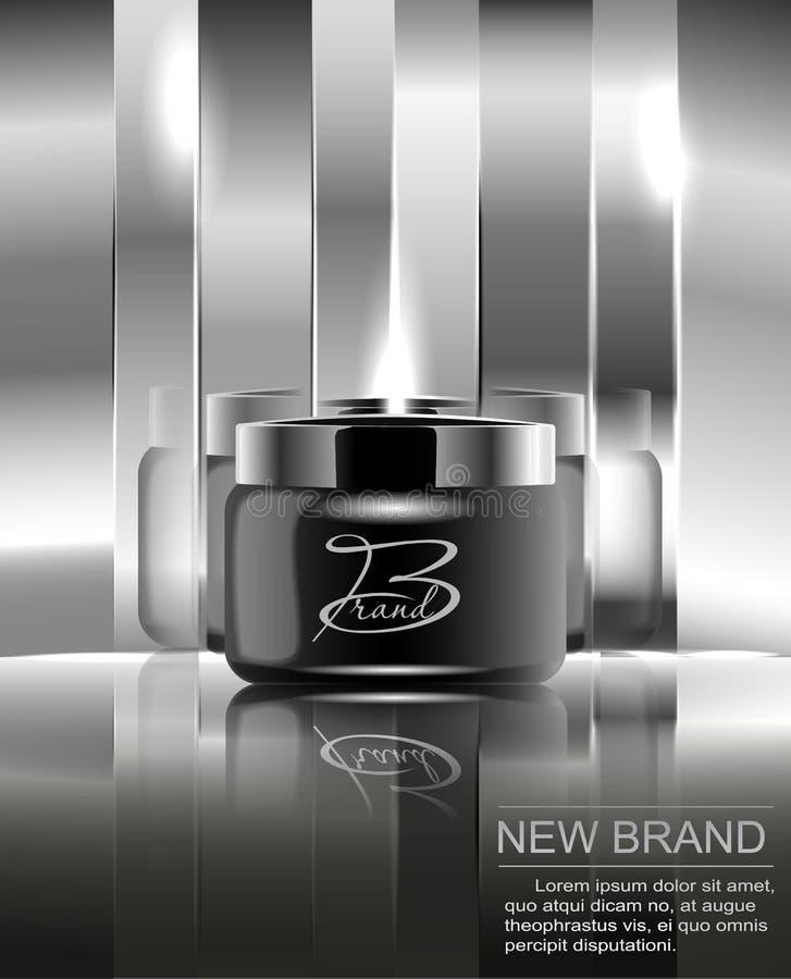 Une nouvelle marque des cosmétiques pour la crème corporelle Pot en plastique noir pour la conception sur un fond argenté reflété illustration de vecteur