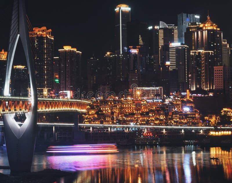 Une nuit à Chongqing images libres de droits