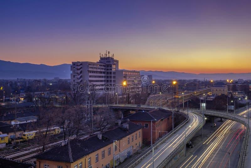 Une nuit à Plovdiv images stock