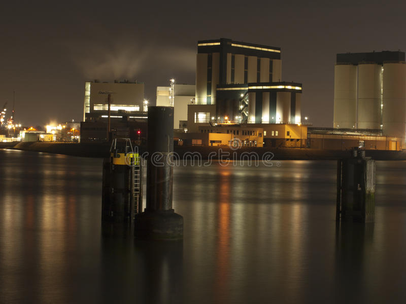 Une nuit dans le port de Rotterdam photos libres de droits