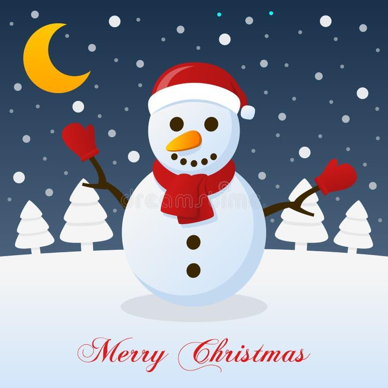 Une nuit de Noël très Joyeux - bonhomme de neige illustration stock