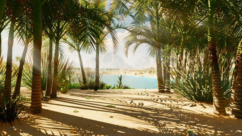 Une oasis dans le d?sert Jour chaud clair Montagnes éloignées, dunes de sable et un ciel étouffant Beau paysage Insectes dans photos stock
