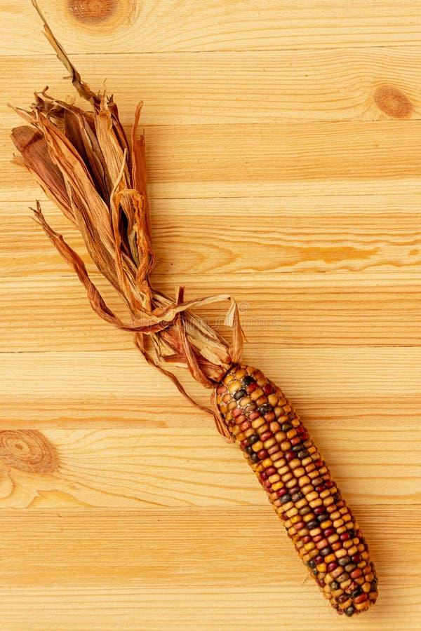 Une oreille colorée des mensonges de maïs de silex sur un d'or, dessus de table de pin photographie stock libre de droits