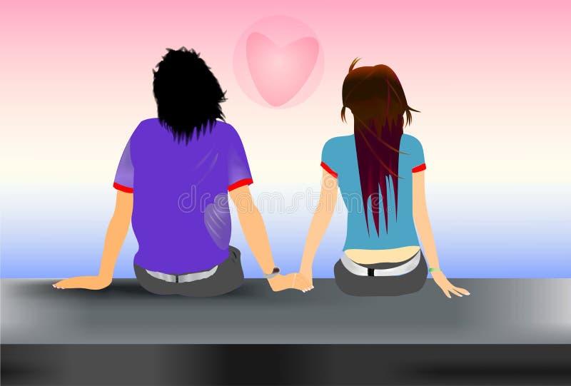 Une paire d'amoureux illustration libre de droits