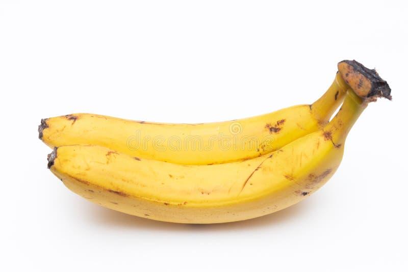 Une paire de bananes mûres sur un fond blanc Deux bananes sont trop mûres et attachées à la tige Ils ont le brun et les anthracno photos stock