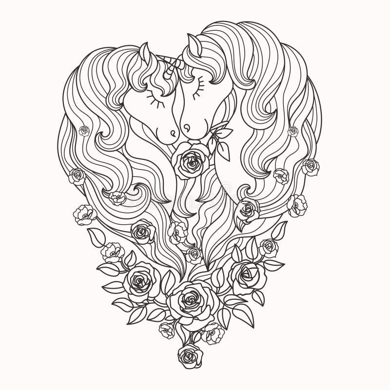 Une paire de belles licornes avec une longue crinière dans les roses Rebecca 36 Vecteur illustration stock