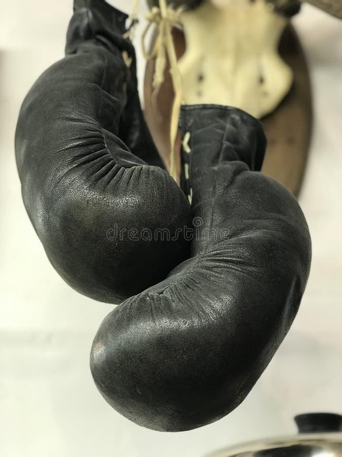 Une paire de gants de boxe pend du mur d'un salon de coiffure photos stock