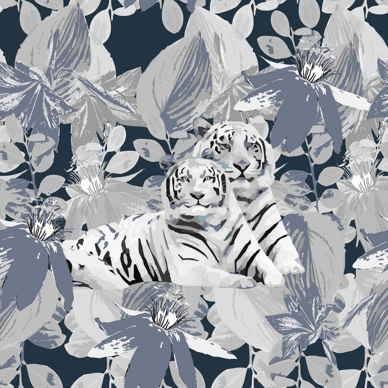 Une paire de tigres et de fleurs blancs illustration de vecteur