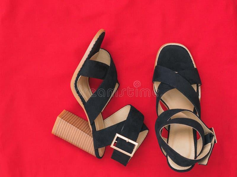 Une paire des chaussures à talons hauts de femmes à la mode avec le tissu rouge Configuration plate image stock