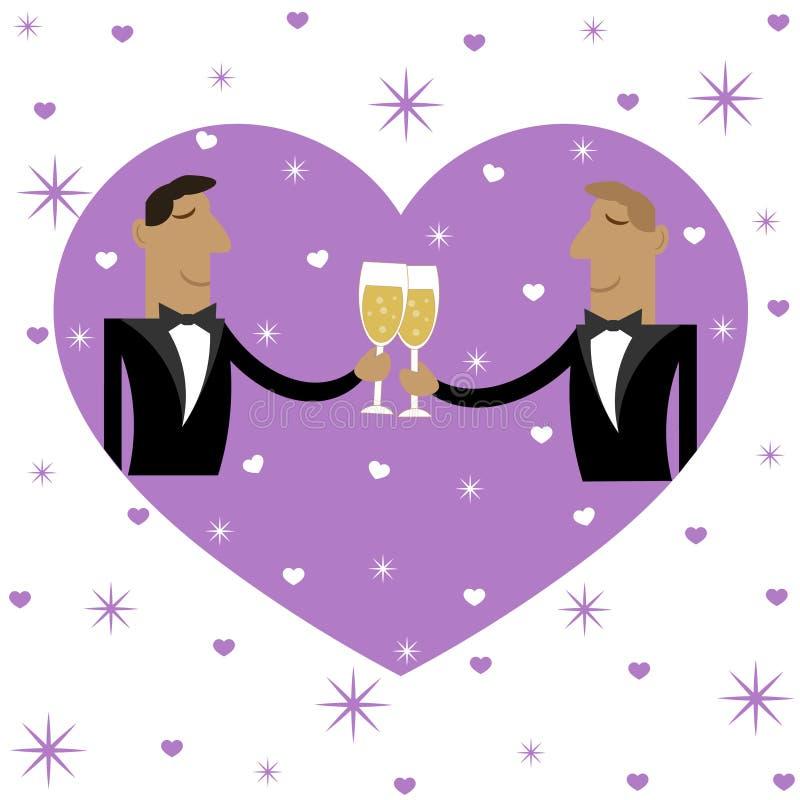 Une paire des hommes en champagne potable d'amour illustration de vecteur