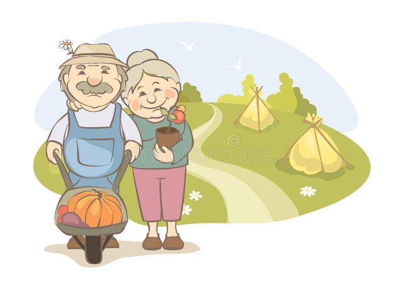 Une paire des jardiniers plus âgés illustration de vecteur