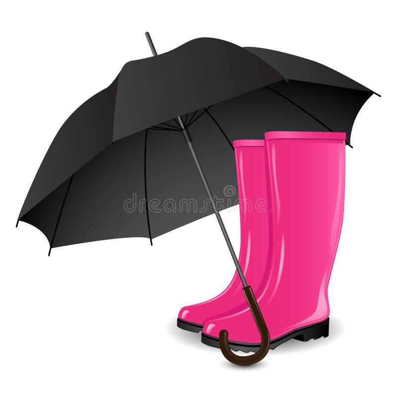 Une paire des rainboots et d'un parapluie illustration libre de droits