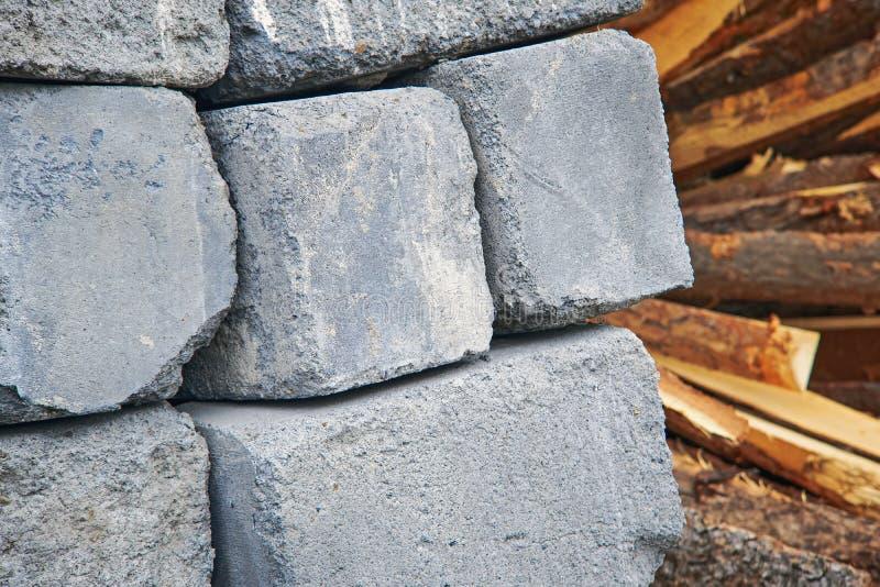 Une palette de Cinder Blocks photo stock