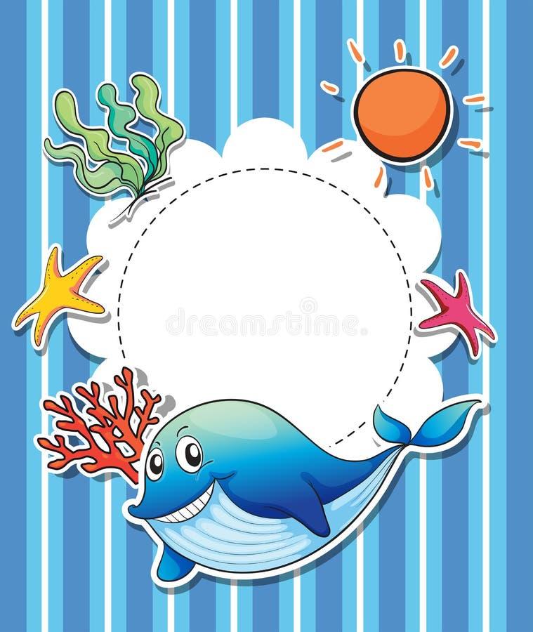 Une papeterie avec un grand requin bleu de sourire illustration stock