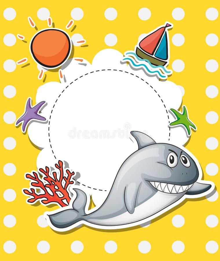 Une papeterie avec un grand requin gris illustration libre de droits